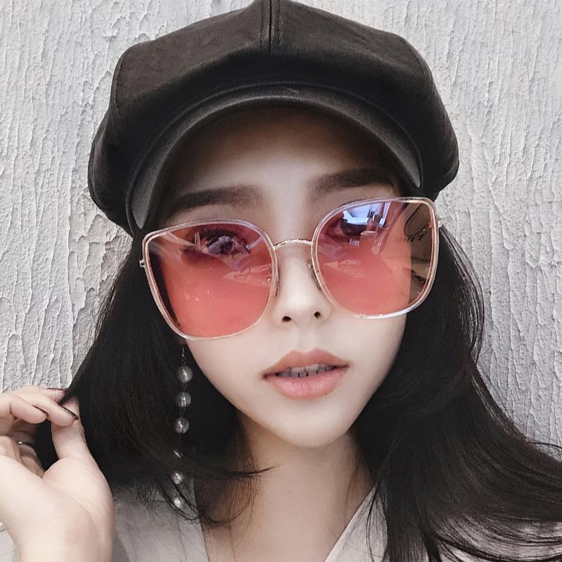 新款韓版太陽眼鏡女網紅同款偏光復古墨鏡男大框圓臉防紫外線 2019