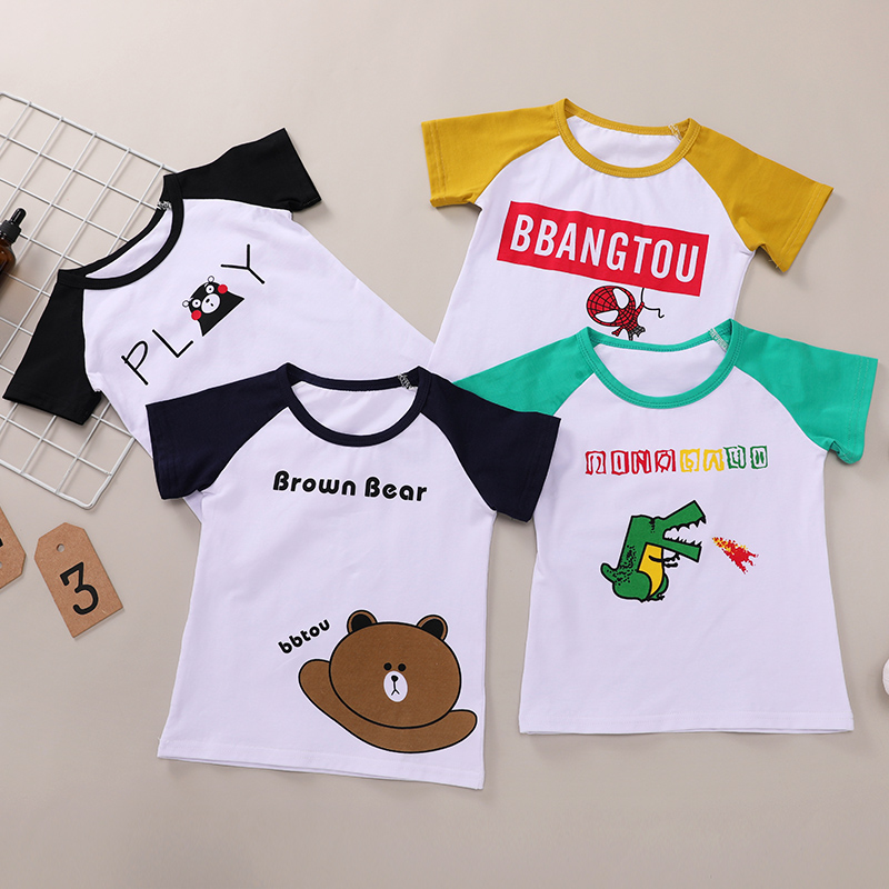 儿童短袖t恤纯棉男童女童韩版宽松半袖T恤中小童宝宝夏装薄款上衣