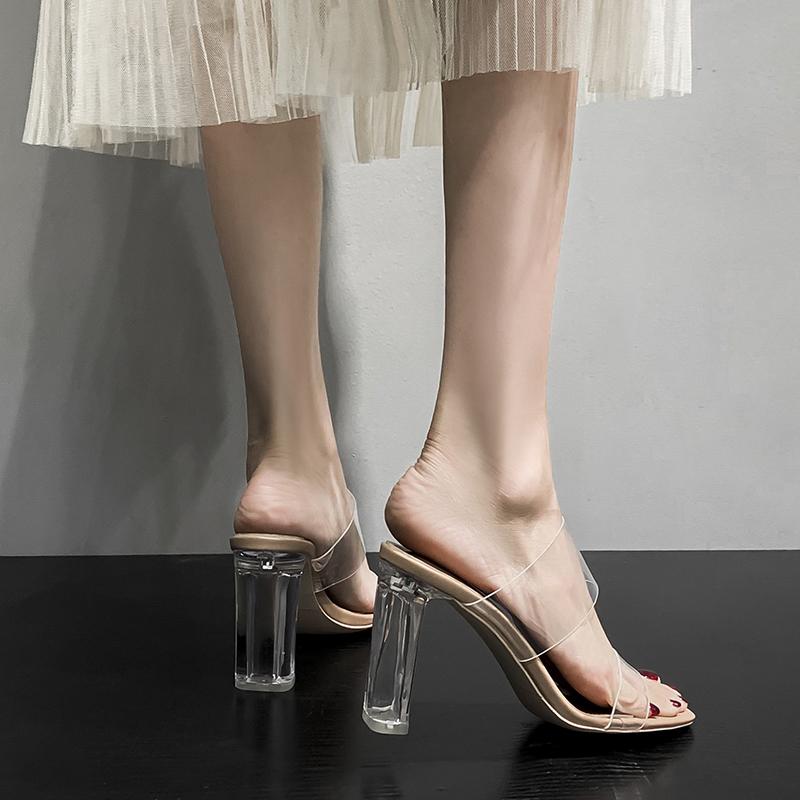 透明女凉鞋高跟鞋2021年夏季网红时装中跟水晶鞋性感粗跟外穿拖鞋 No.3