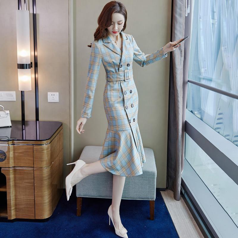 高端西装连衣裙女2021秋装新款修身显瘦高级感气质女神范鱼尾裙子