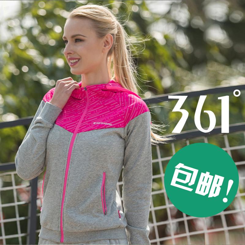 361度女裝運動套裝夏季連帽運動外套361寬鬆運動開衫衛衣女士Y
