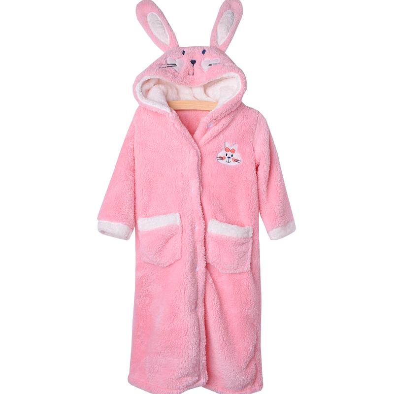 儿童睡袍女童珊瑚绒秋冬宝宝浴袍大童法兰绒冬季加厚长款小孩睡衣