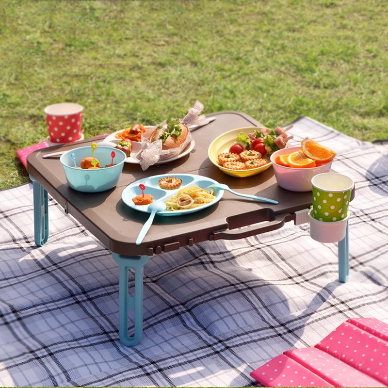 简易 轻巧餐桌户外家用便携桌 伸和日本野餐桌子床上折叠桌