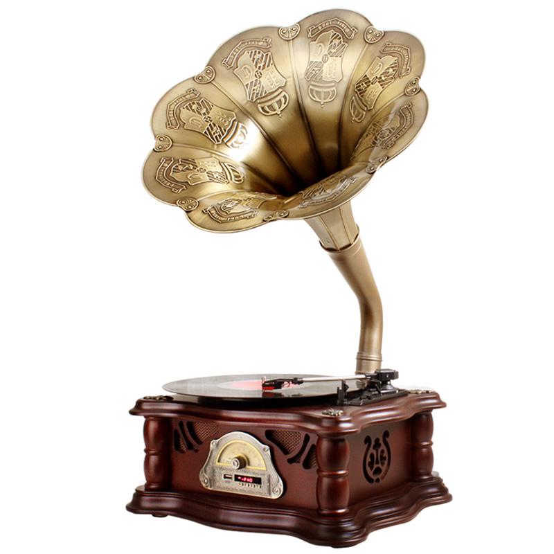 派拉蒙留声机复古黑胶唱片机摆件家用古典电唱机大喇叭蓝牙音箱