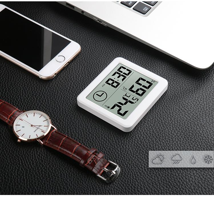 磐盾超薄简约智能家居电子数字温湿度计 家用温度计室内干湿度表