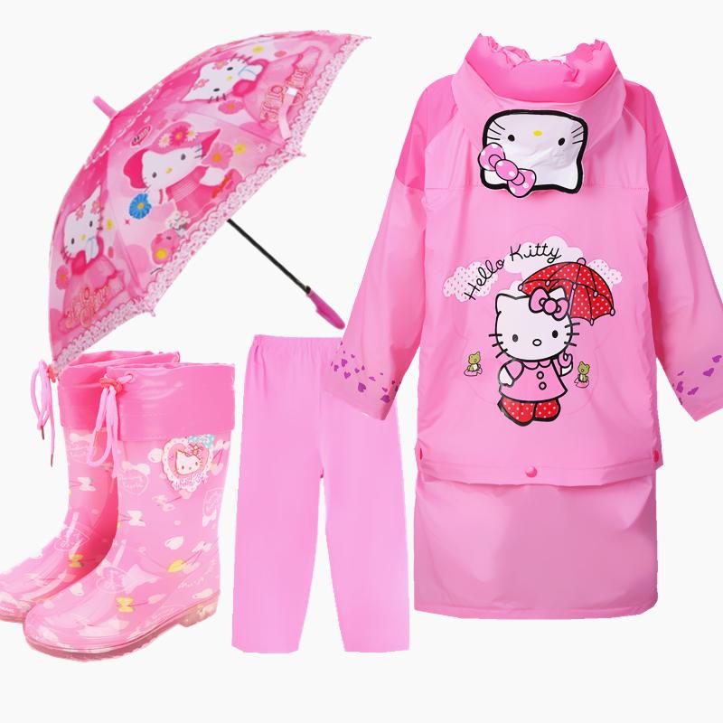 兒童雨衣雨披女童雨衣雨鞋套裝KT貓時尚加厚雨披雨靴