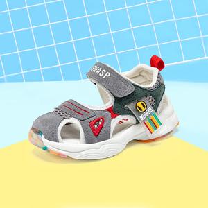 大黄蜂宝宝凉鞋女公主夏季软底包头防踢防滑机能鞋小童学步鞋男童