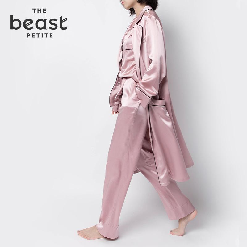 THE BEAST/野兽派 硬糖真丝女士睡袍 烟灰粉长睡袍