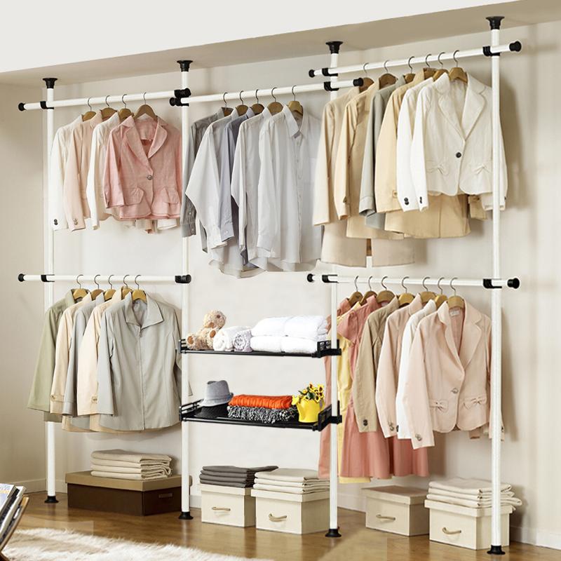 多功能组合衣服架钢架粗 顶天立地创意衣帽架卧室落地简易挂衣架