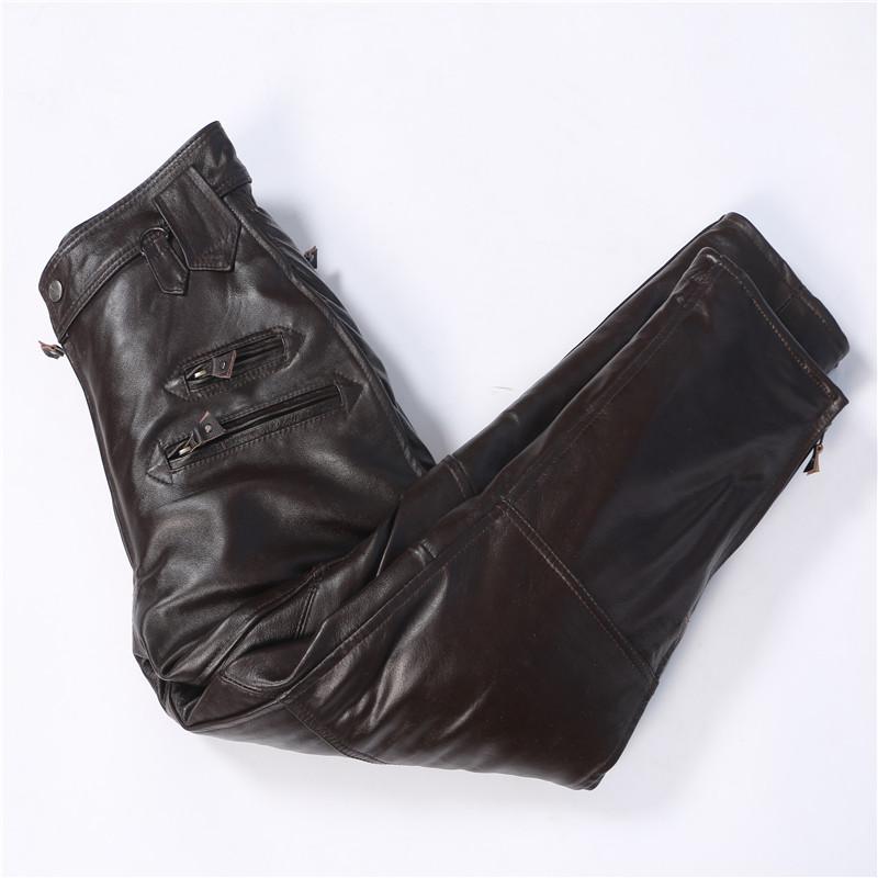 牛皮皮裤男款真皮马裤羊皮裤子中老年宽松款秋冬摩托车飞行服皮裤