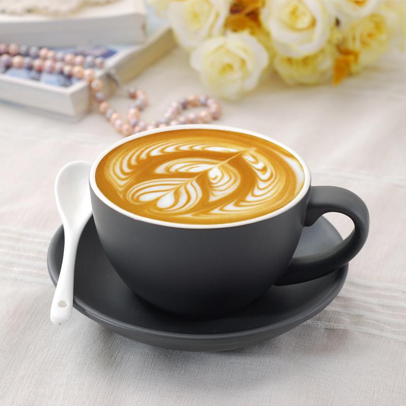 卡布奇诺咖啡杯碟拉花咖啡杯4杯碟送勺彩色陶瓷大容量咖啡杯套装