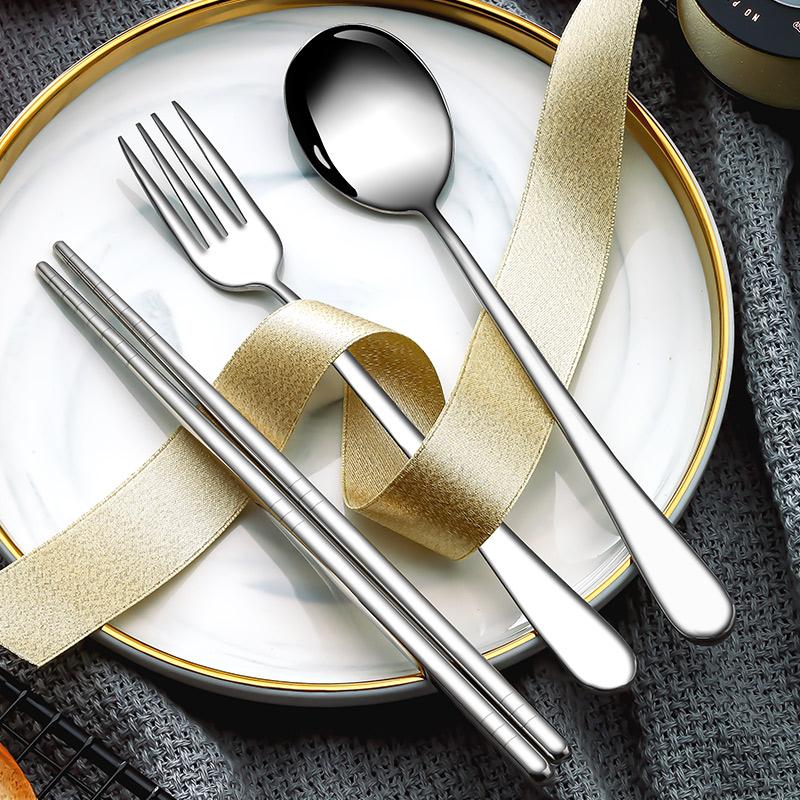 韩式可爱便携式不锈钢餐具套装筷子勺子叉子三件套学生旅行筷勺盒