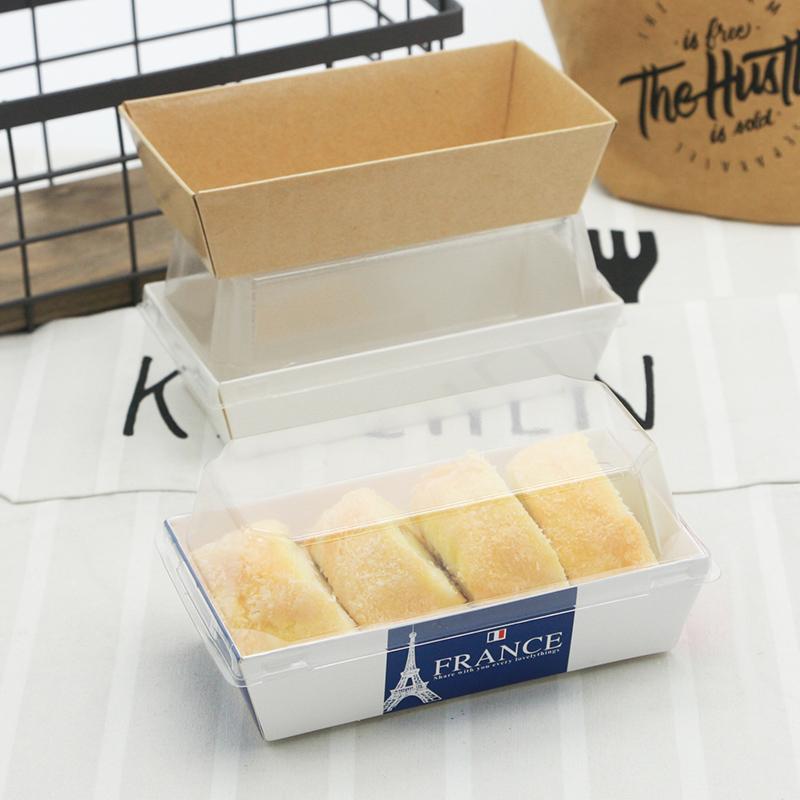 烘焙包裝盒 泡芙雪媚娘毛巾卷 小長方西點紙塑盒 班戟吸塑盒 50套