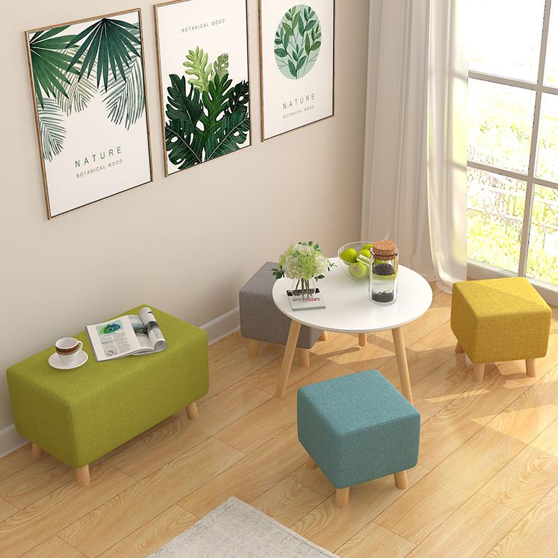 实木换鞋凳 矮凳布艺小凳子家用穿鞋凳子沙发凳方凳 凳子时尚创意