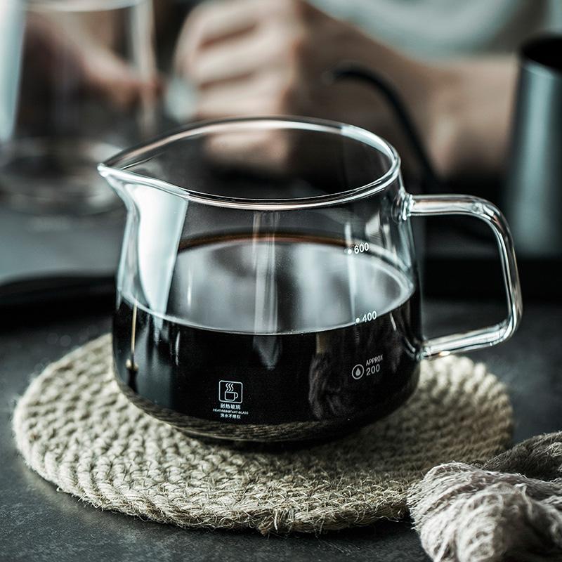 半辰 高硼硅耐熱玻璃咖啡分享壺家用帶把手沖咖啡壺套裝咖啡器具