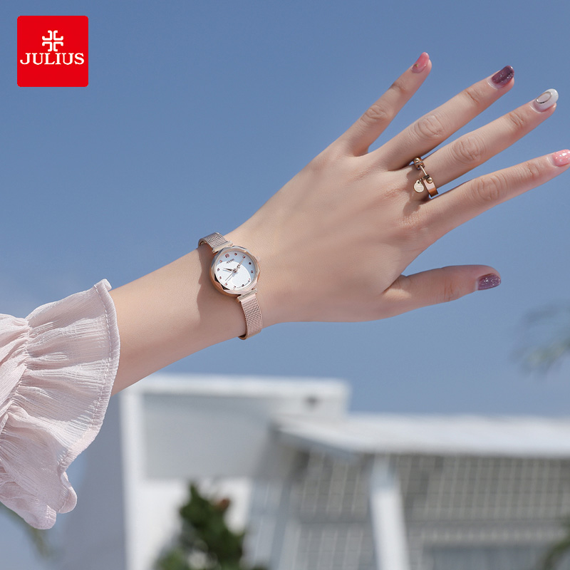 聚利时手表女士学生韩版简约休闲时尚潮流专柜正品防水女款带铜带
