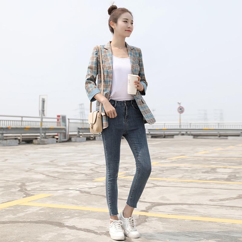 格子西装外套女 网红新款春夏韩版时尚休闲百搭上衣薄款小西服  2020