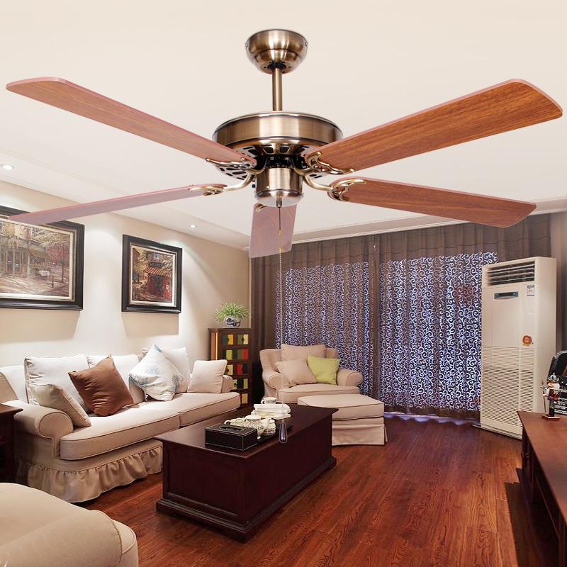 复古吊扇无灯 欧式仿古风扇不带灯简约吊扇客厅餐厅卧式家用电扇