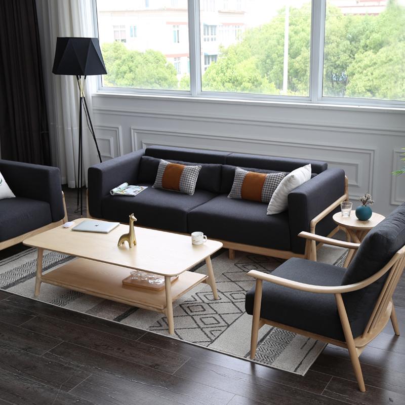 【官方抽检15年不塌】清木堂日式简约定制做客厅多人双人实木沙发