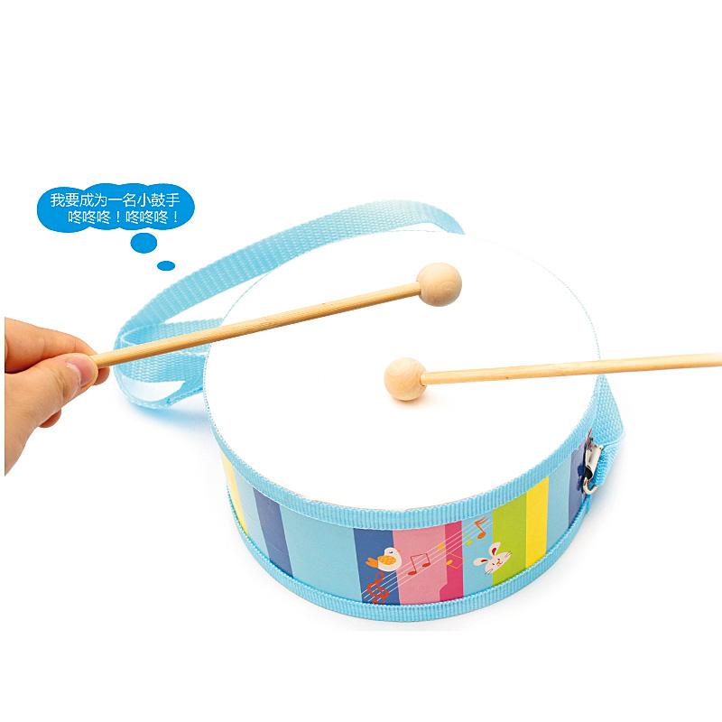军鼓儿童早教打击木制双面敲鼓乐器 腰鼓益智手敲击教具玩具2-3-6