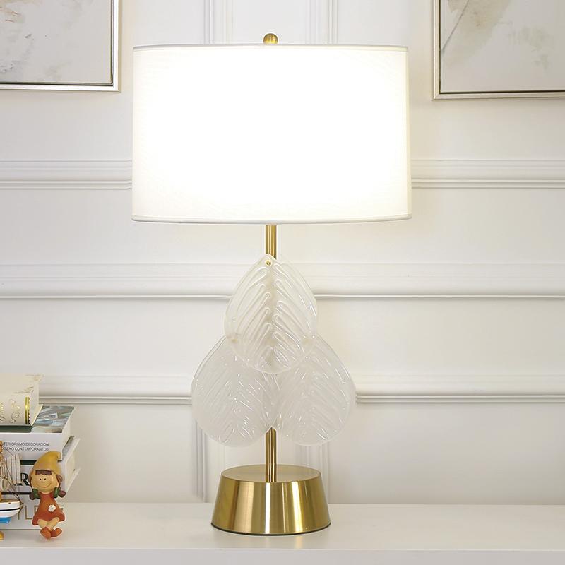 s 美式台灯卧室创意个姓简约后现代轻奢风金色床头灯水晶树叶