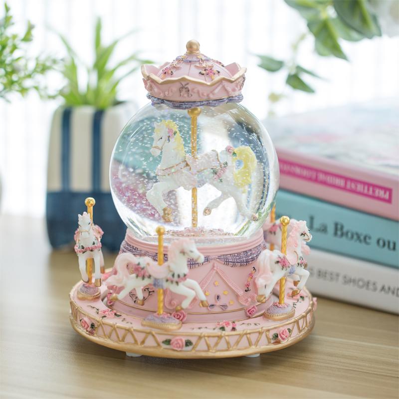 女生生日礼物 10 旋转木马八音盒水晶球音乐盒送十岁儿童小女孩公主