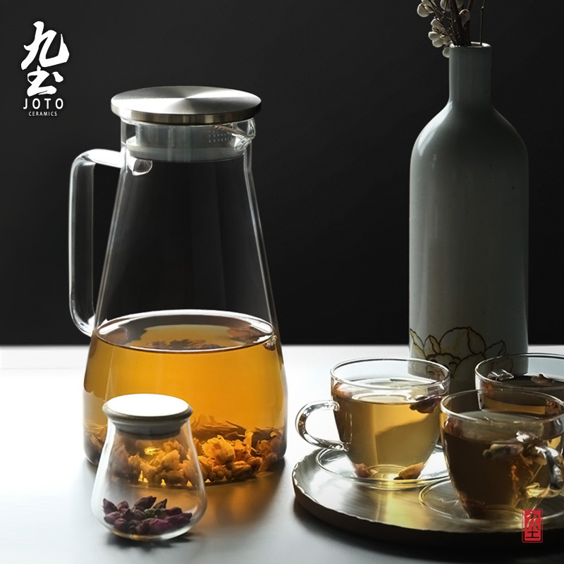 九土冷水壺玻璃茶壺加厚涼水壺家用耐高溫大容量玻璃壺果汁花茶壺
