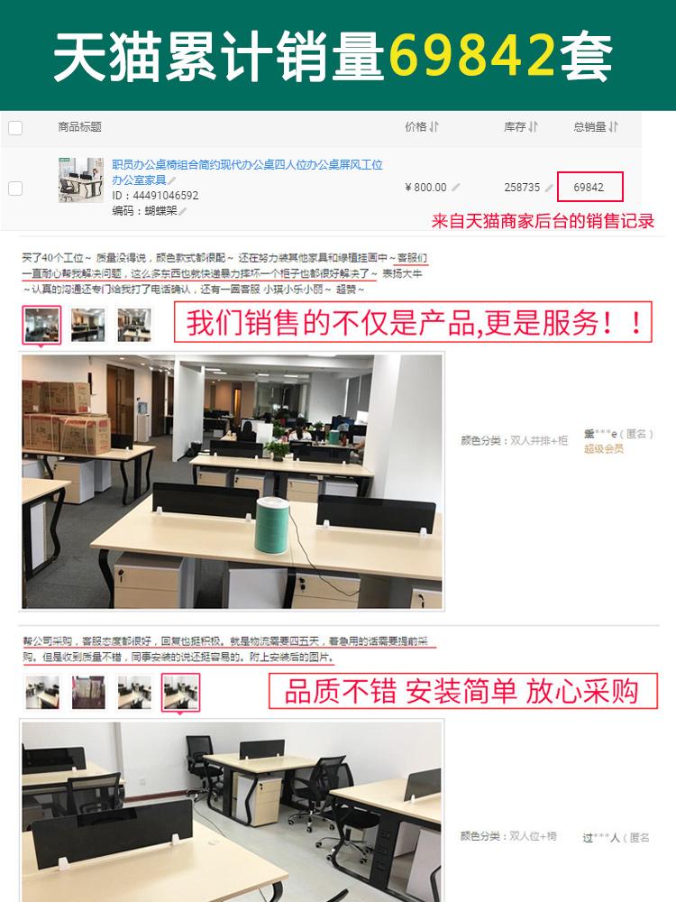 职员办公桌椅组合简约现代办公桌四人位办公桌屏风工位办公室家具
