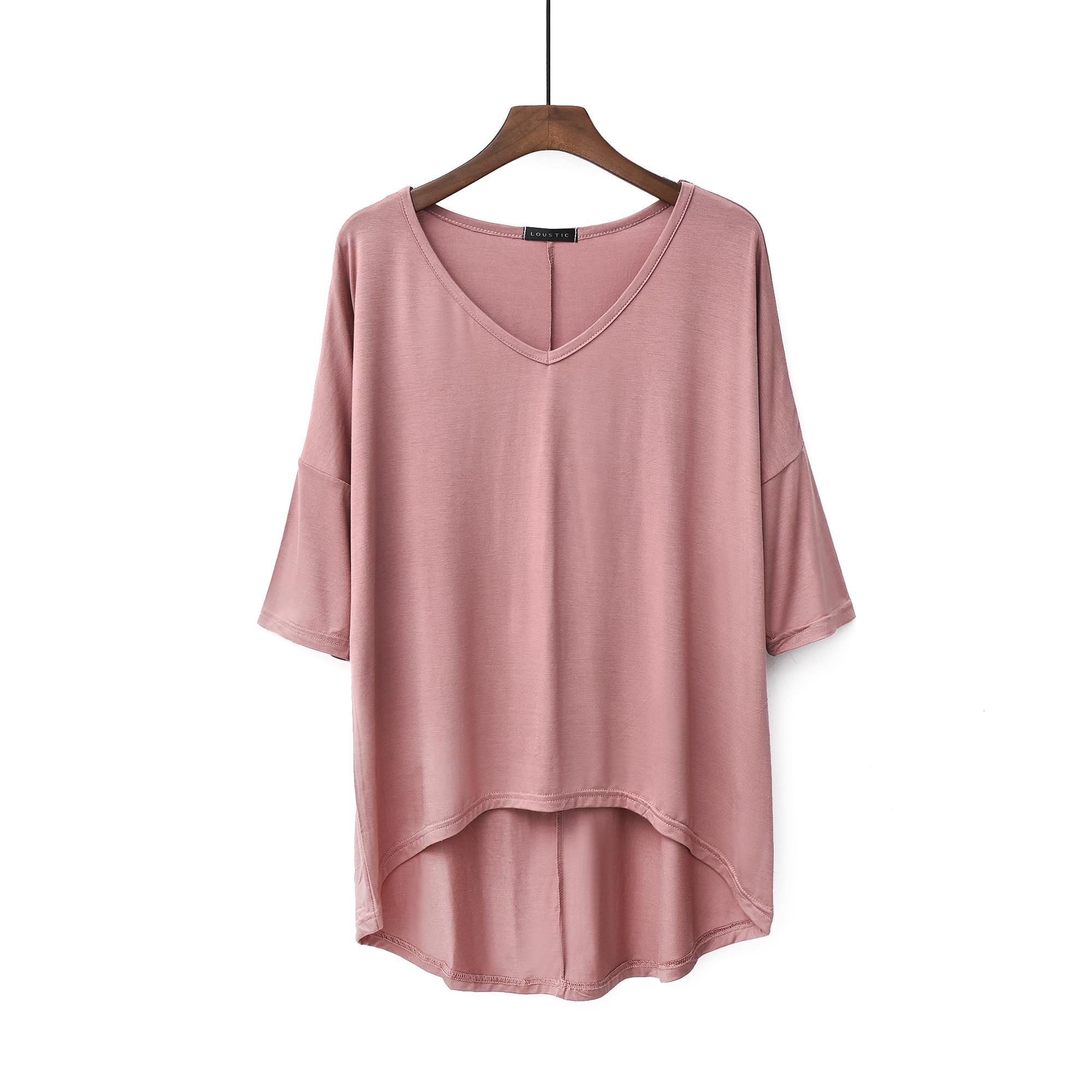大码女装宽松莫代尔显瘦中袖V领T恤前短后长家居服短袖上衣月子服