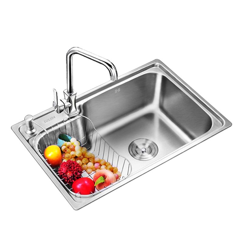 厨房洗菜盆水盆水池套餐加厚拉丝洗菜盆大单槽 不锈钢水槽单槽 304