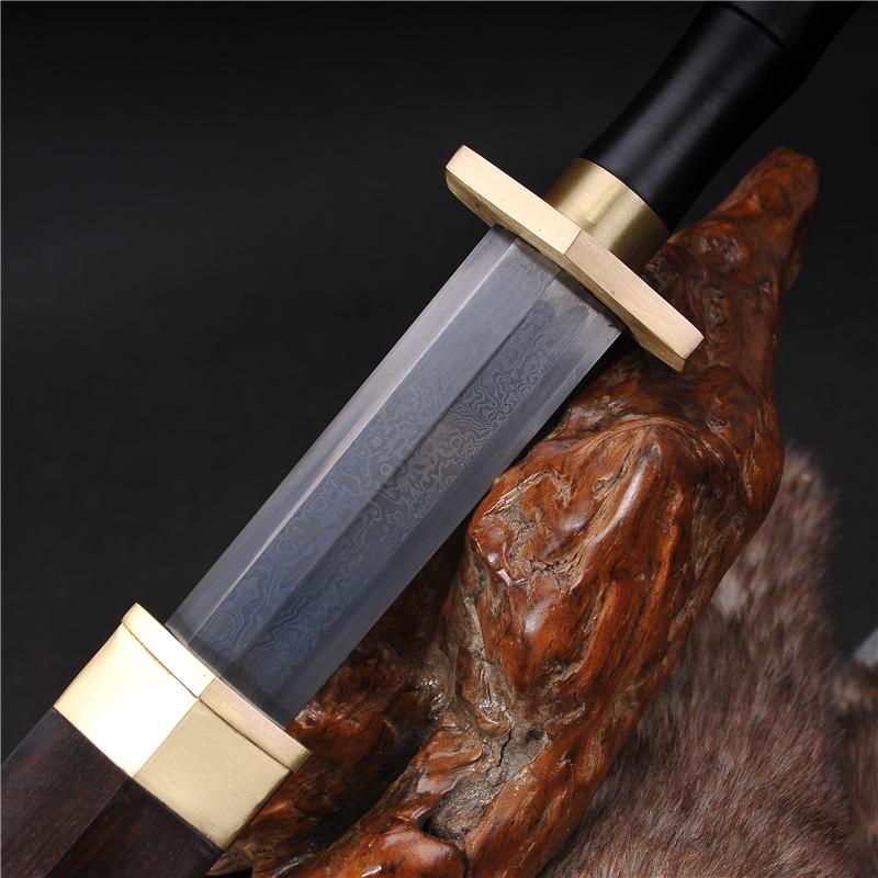 黄铜装龙泉八面汉剑花纹钢如意宝剑长剑一体短剑镇宅收藏未开刃