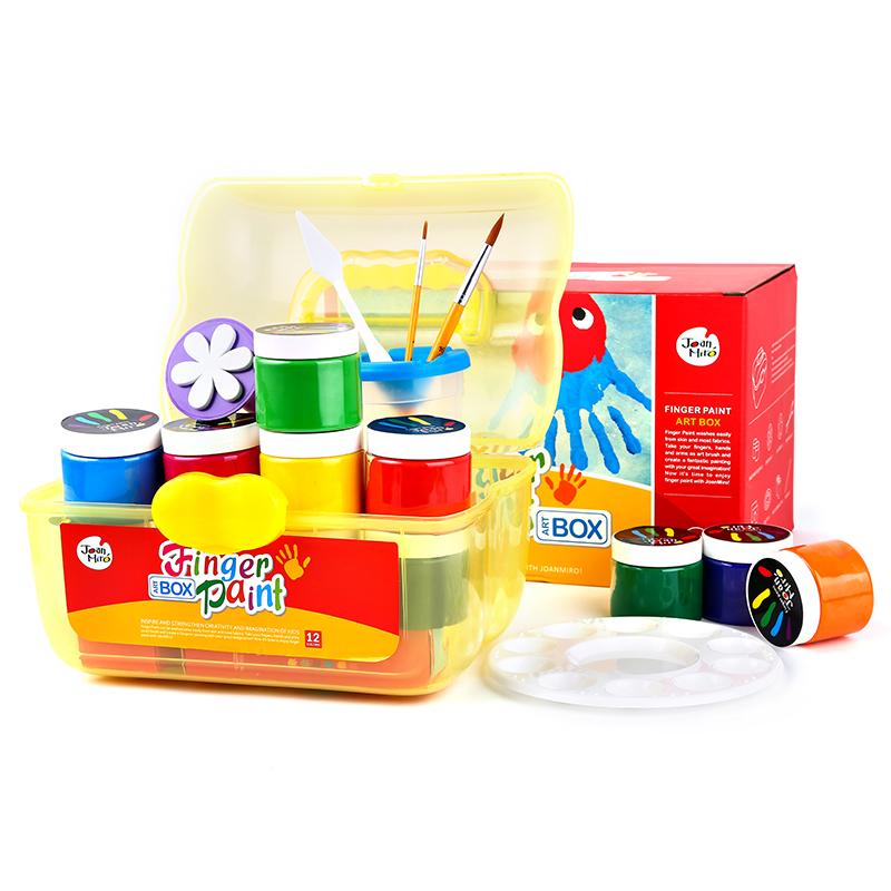 美乐百宝箱宝宝儿童手指画颜料套装玩具绘画组合涂鸦学画可水洗女