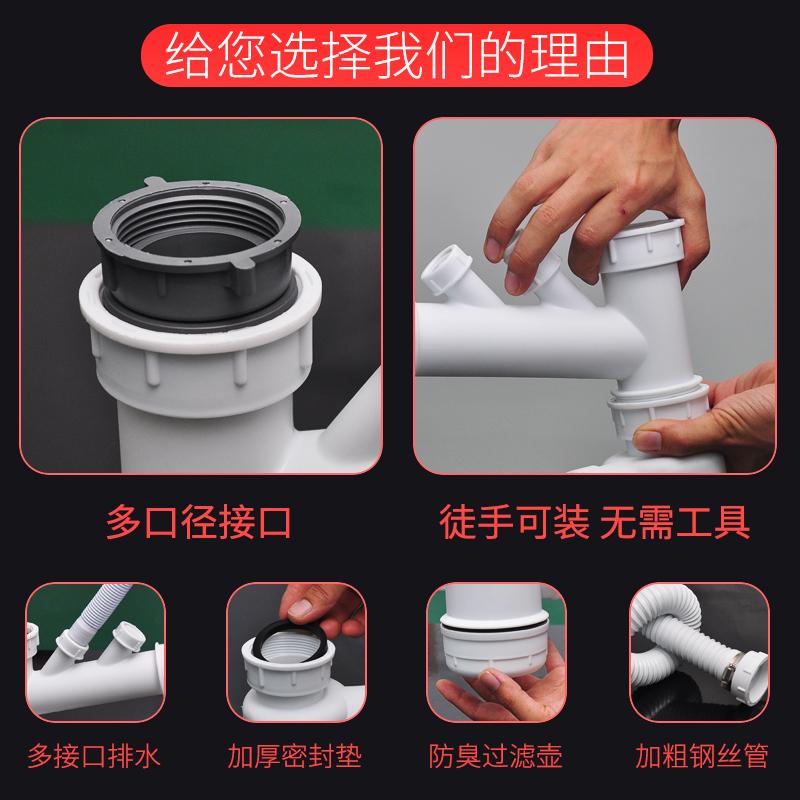 吉斯特廚房洗菜盆雙槽防臭下水管水槽下水器洗碗池單槽排水管配件