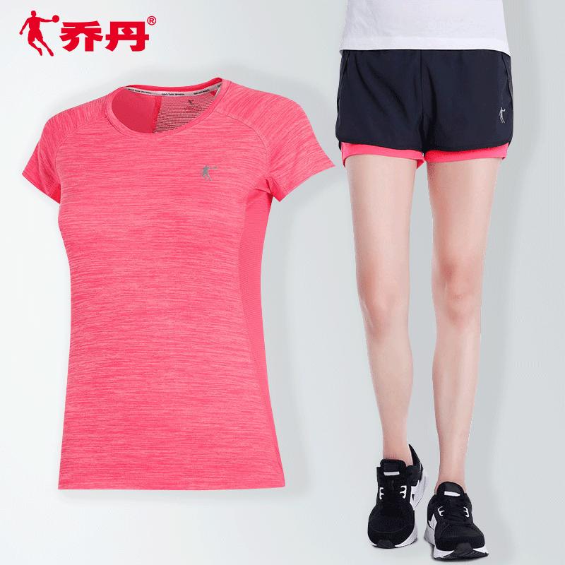 乔丹运动套装女夏季短袖2020新款显瘦修身两件套短裤休闲运动服女
