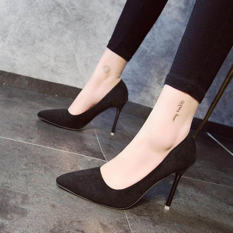 厘米黑色绒面职业正装鞋学生礼仪面试工作 7 5 3 空姐高跟鞋女细跟