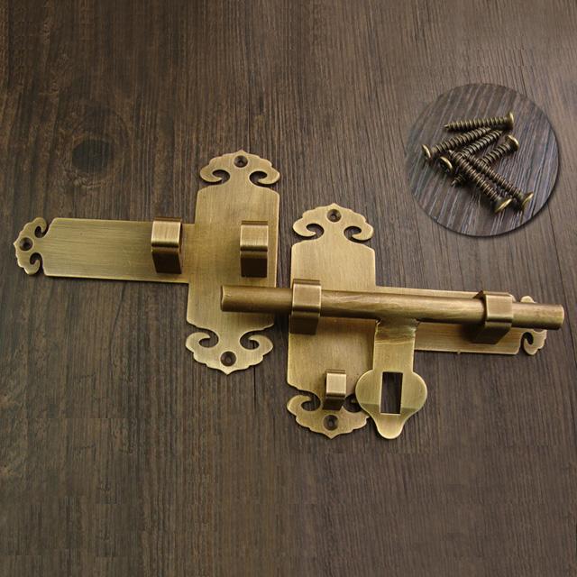 中式仿古纯铜木门插销老式大门锁门闩插销免打孔全铜加厚门扣门栓