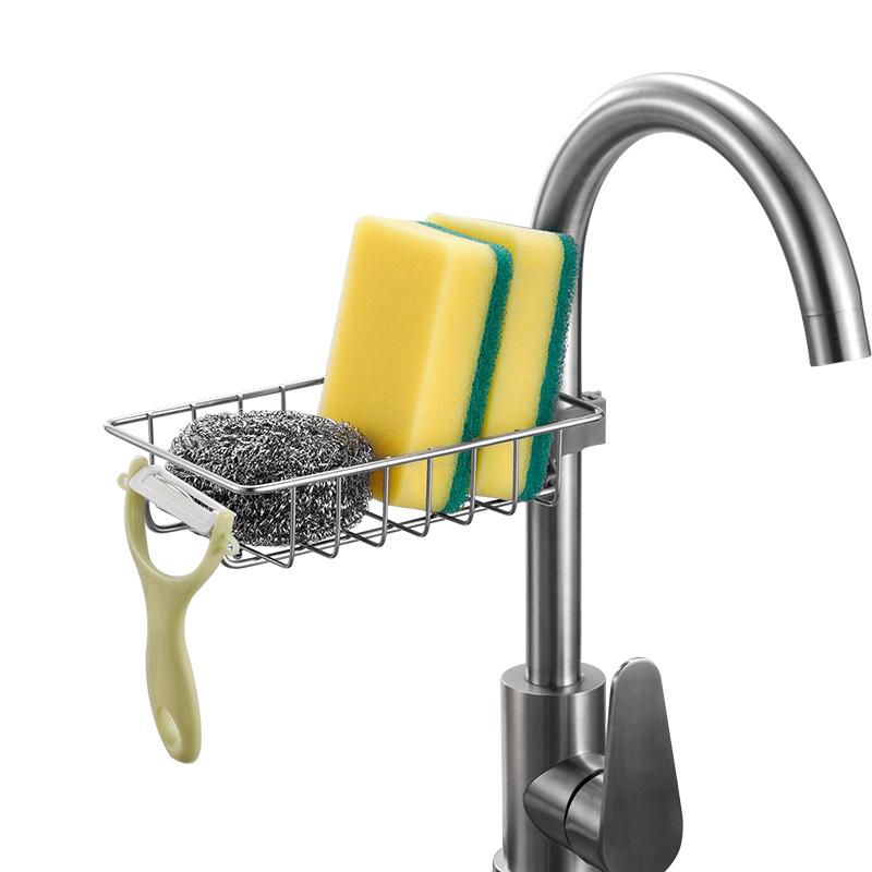 水龙头置物架不锈钢免打孔厨房水槽收纳架抹布海绵沥水架收纳神器