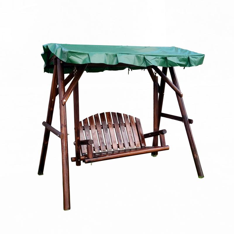 户外庭院休闲圆木吊椅碳化防腐实木带顶秋千阳台花园走廊成人摇椅