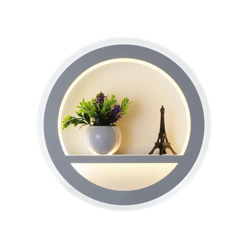 床头灯卧室中式圆形客厅楼梯卧室过道灯酒店灯具 LED 壁灯现代简约