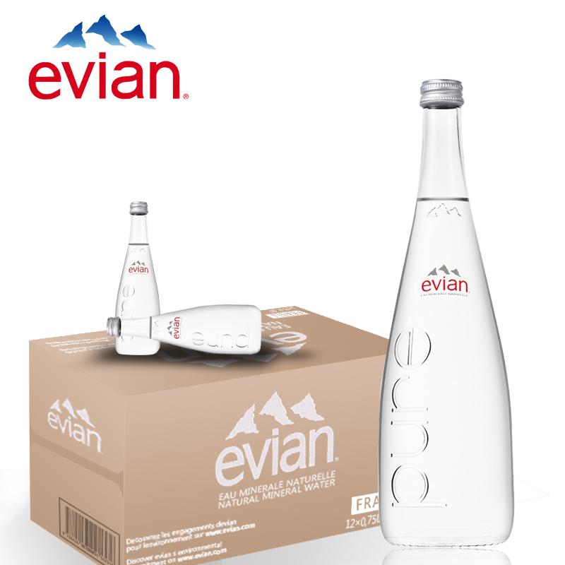 法国evian依云矿泉水玻璃瓶330ml*20瓶整箱进口天然水小瓶原装