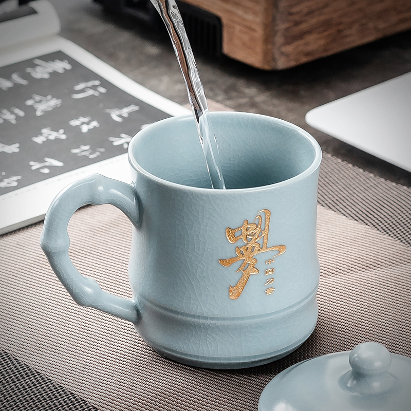 开片汝窑办公室泡茶杯男陶瓷老板杯带盖过滤水杯定制刻字会议杯子