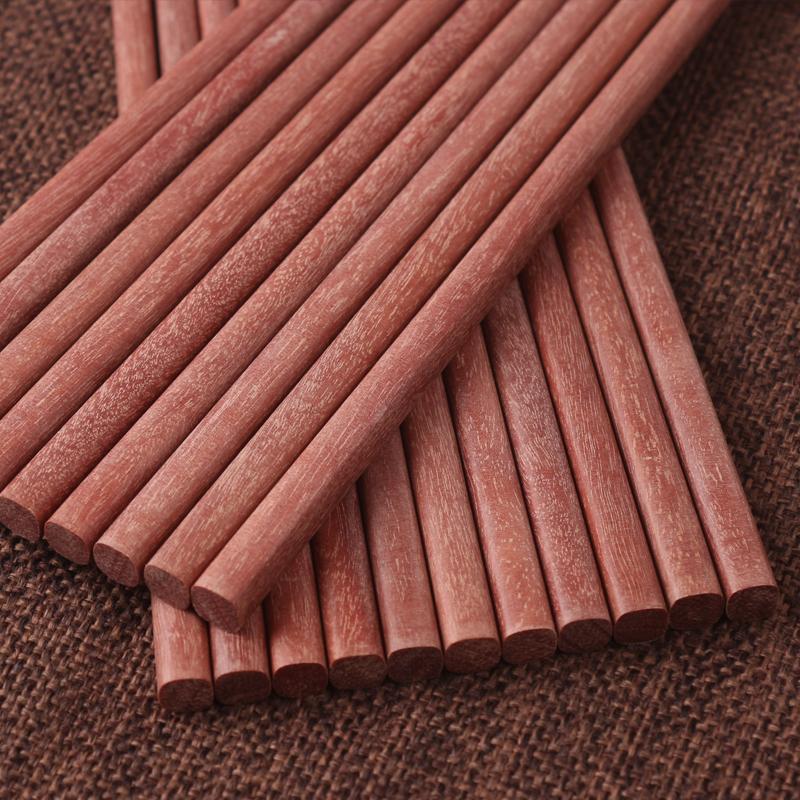 实木红檀木筷子套装快子家用家庭装10双红木筷子无漆无蜡木质防滑