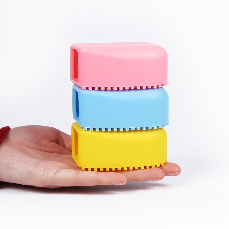 2个装 手握糖果色硅胶洗衣刷迷你搓衣板洗袜子衣领子袖口尿布