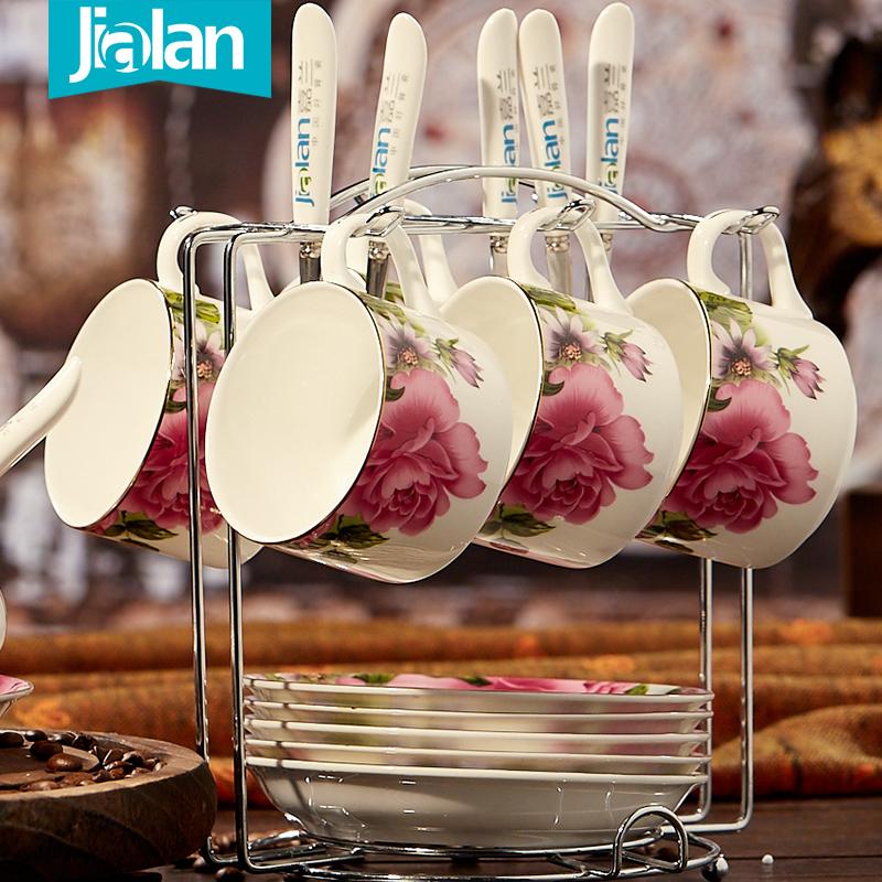 嘉兰骨瓷咖啡杯 陶瓷杯 碟 勺套装 澳式下午茶具 咖啡杯欧式6件套