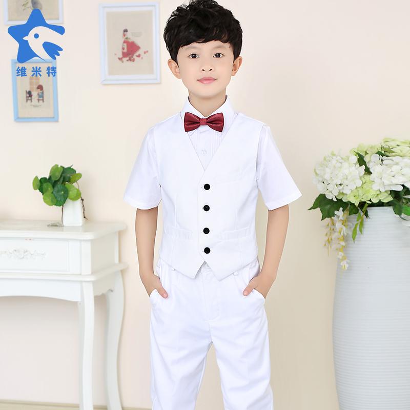 男童短袖衬衫纯白色西装马甲长裤套装夏季儿童衬衣礼服孩表演出服