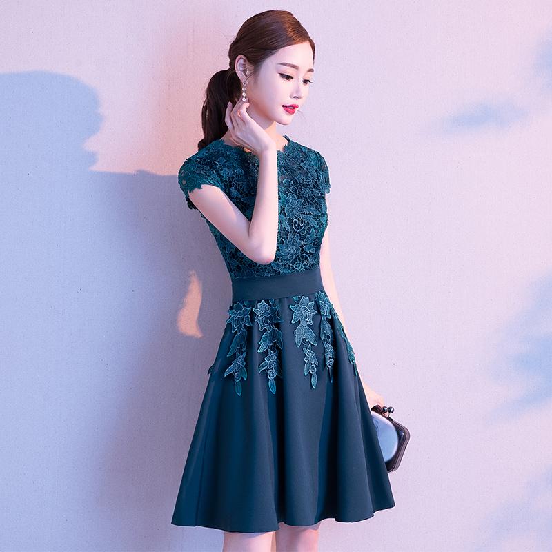 高端晚礼服女宴会气质高档短款名媛洋装连衣裙夏季平时可穿小个子主图