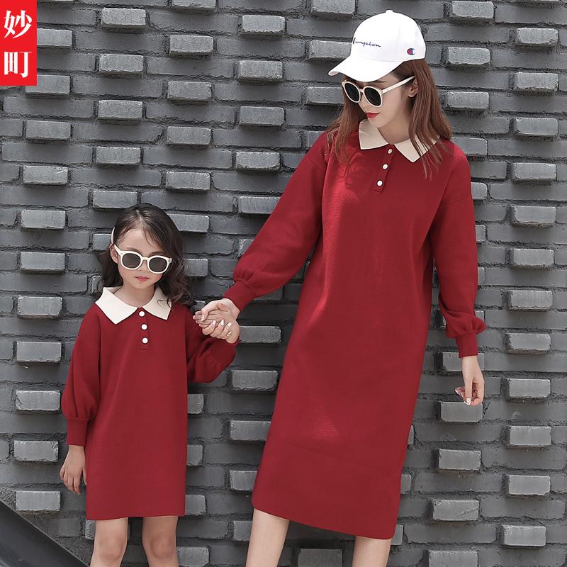 高端亲子装秋装毛衣一家三口四口韩版网红母女连衣裙针织衫洋气潮