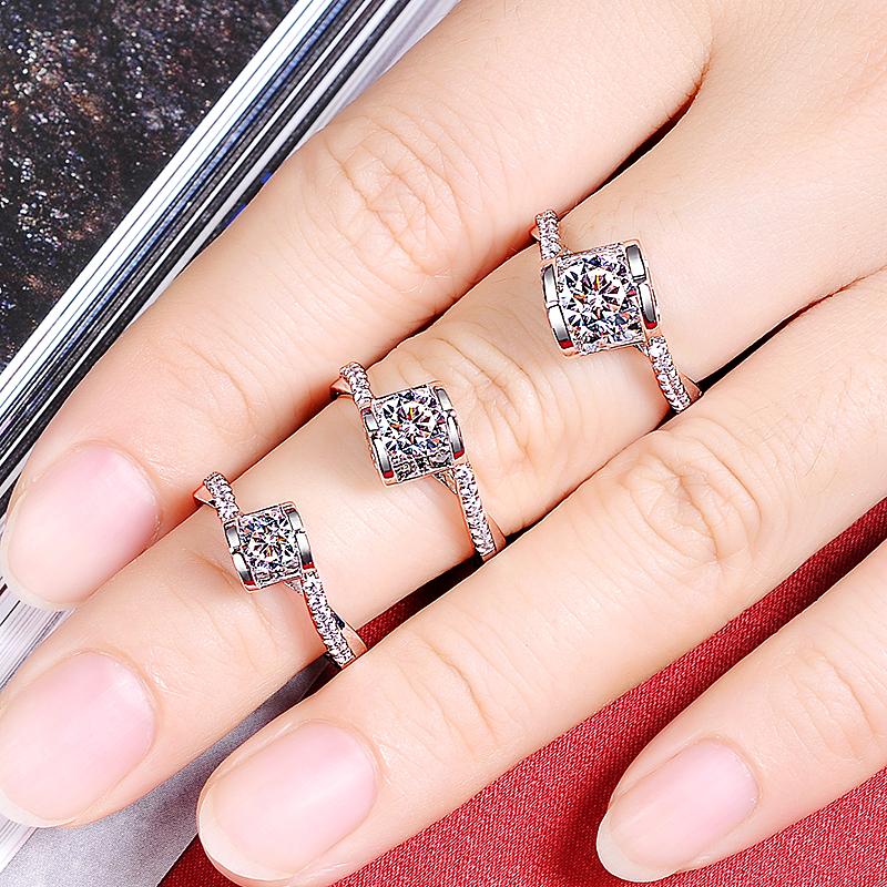 美国SICASCO&CO星匠钻莫桑石钻石戒指女珠宝首饰定制18K白金
