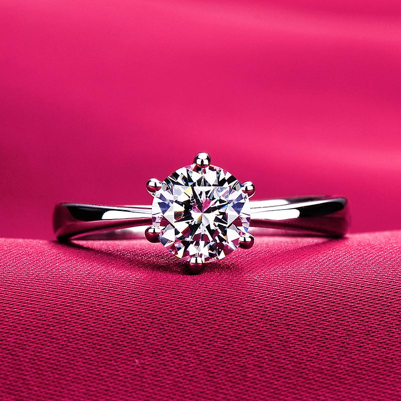 色一克拉仿真钻戒婚戒钻石带腰码证书测钻笔 D 美国进口莫桑石戒指