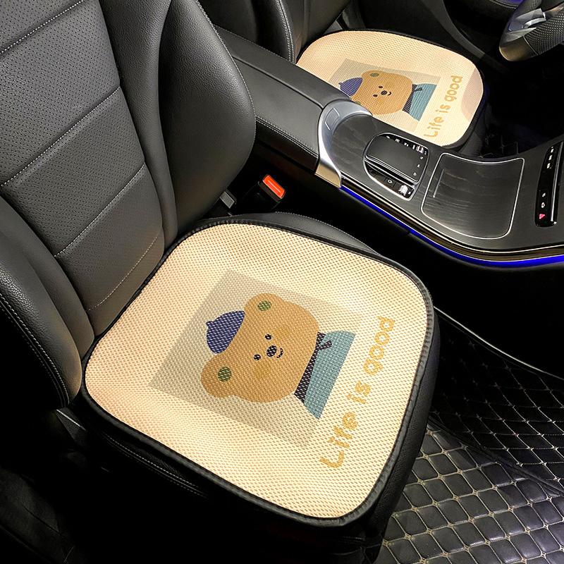 汽车坐垫卡通可爱夏季凉垫透气卡通车载座椅座垫单片屁垫四季通用